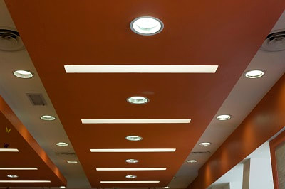 Picture of remodeled lighting in commercial building.